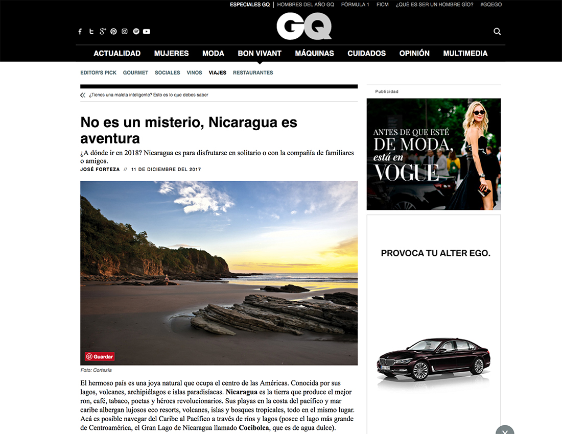 Imagen de la publicación de la revista GQ, edición México, donde se destaca a Nicaragua como destino a visitar para este 2018.
