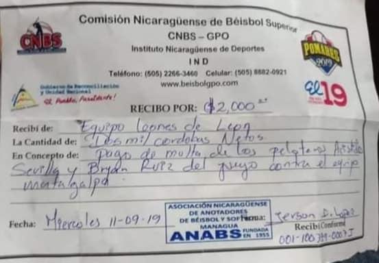 El recibo de pago por multa a Wilton López