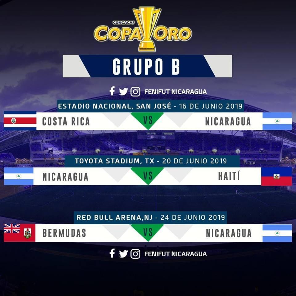 Calendario de Nicaragua en la Copa Oro