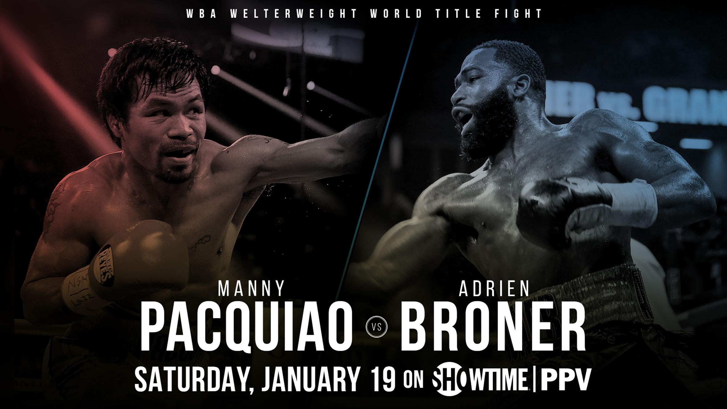 Cartel promocional para la pelea Pacquiao vs Broner