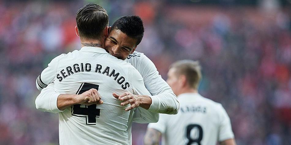 Ramos y Casemiro tras la victoria en el Wanda