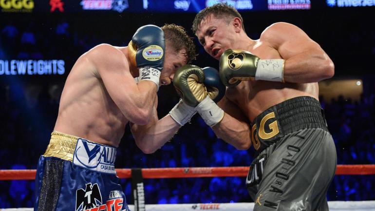 Intercambio de golpes en la primera pelea entre Canelo y Golovkin