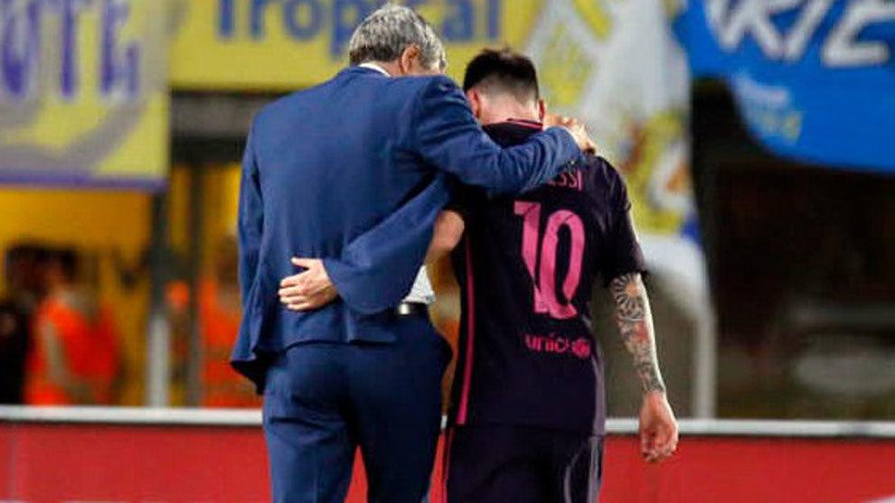 Messi tiene buena relación con Quique Setién