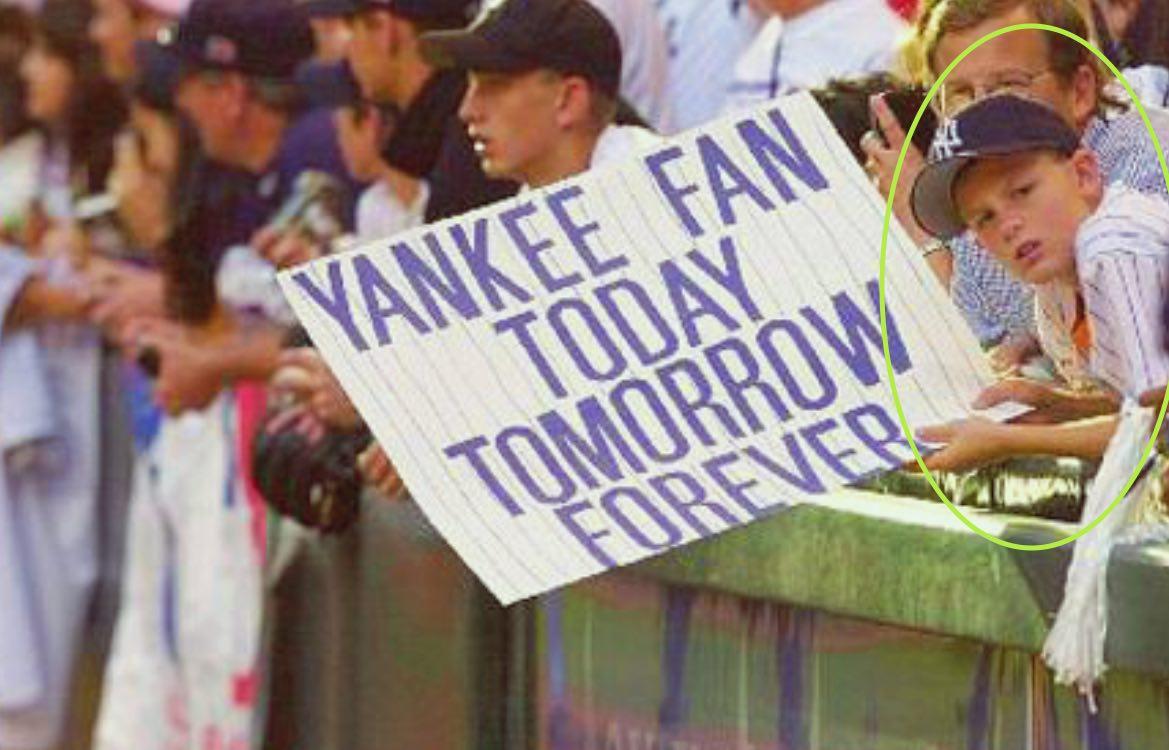 Gerrit Cole de niño como aficionado de los Yankees