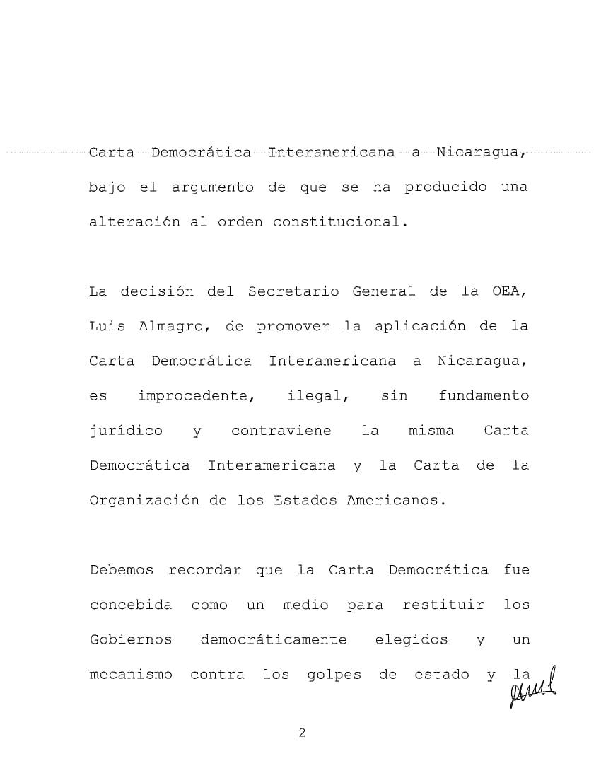Canciller de Nicaragua denuncia ilegalidad en aplicación de Carta Democrática